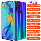 "P35 Pro Smartphone 6.3"" Hd Full Screen 4800mah Android 9.1 Face Id Cell Phone"