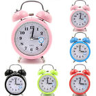 Super Loud Double Bell Round Alarm Clocks With Night Light Bedside Room Decor