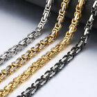 4/5/8mm Byzantine Link Chain Necklace For Men Stainless Steel Gold Silver Black