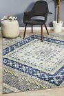Bright Traditional Euphrates Design Navy Diamond Floor Area Rugs Runners and Cir
