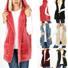 Hooded Soft Faux Fur Vest Sleeveless Cardigan Womens Jacket Sherpa Fluffy Coat