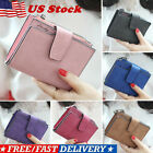 Womens Leather Small Mini Wallet Card Holder Zip Coin Purse Clutch Solid Handbag image
