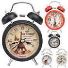 Retro Backlight LED Clock Round Double Bell Desk Table Alarm Clock Home Decor US