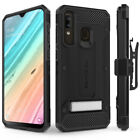 Galaxy A20 Case, Evocel Glass Screen Protector with Clip Holster & Kickstand