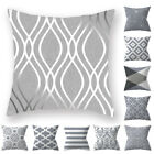 Silver Gray Cushion Cover Geometric Pillow Case Pillowcase Sofa Home Decor 18""