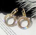 Rose Gold Silver Gold Plated Made With Swarovski Crystal Elements Hoop Earrings