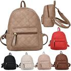 New Faux Leather Quilted Pattern Design Ladies Small Backpack Rucksack