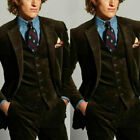 Brown Corduroy Vintage Hunting Suit For Men Formal Leisure Wedding Business Suit