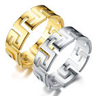 Men Gold Silver Great Wall Hollow Ring Stainless Steel Greek Key Ring Jewelry Uk