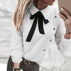 UK Womens Bow Tie Shirts Ladies Long Sleeve OL Office Work Formal Blouse Tops