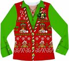 Faux Real Women's Ugly Xmas Sweater Vest Long Sleeve T-Shirt, Multi-Colored