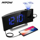 Mpow Alarm-Clock Display Sleep-Timer Projection Fm-Radio Dual-Alarms Large