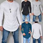 Fashion Men Casual Long Sleeve Slim Fit Shirts Longline Shirt Top Blouse T-Shirt image