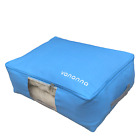 Foldable Canvas Under Bed Storage Bag with Clear Viewing Window, blue & beige