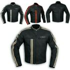 Jacket Cuir Mens Biker Motorcycle Ce Protecteurs Armored All Sizes