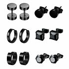 6 Pairs Stainless Steel Cz Huggie Hoop Earrings Men Studs Ear Piercing Womens