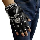 Punk Gothic Leather Pair Fingerless Biker Gloves With Skull studded For Men