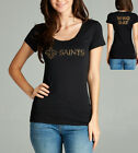 NEW ORLEANS SAINTS Shirt Football NFL WHO DAT Womens Glitter Black Sz S-2XL NEW $19.95 USD on eBay