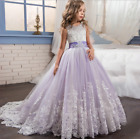 New Flower Girls Bow Princess Dress Girls Party Wedding Prom Bridesmaid Gown