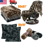 Flannel Faux Fur Fleece Blanket Throw Plush Cozy Couch Bed Quilt Cushion Covers image
