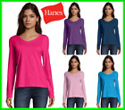 Hanes Women's Long-Sleeve V-Neck T-Shirt Tee 100% Cotton Top Tag Free sz S-2XL