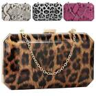 New Synthetic Patent Leather Leopard Snakeskin Print Evening Clutch Bag