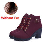 Hot Womens Ladies Ankle Boots High Block Heel Buckle Lace Up Casual Shoes Sizes