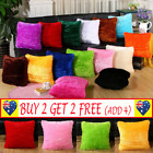 Home Decorative Decoration Plush Square Pillow Case Fur Fluffy Cushion Cover G