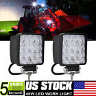 2Pcs 4Inch 48W Spot Beam LED Work Light Pods For Kubota Mccormic Tractor 12V 24V