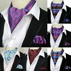 Fashion Men's Cravat Tie Set Handkerchief Silk Paisley Floral Ascot Necktie Sets