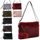 New Fluffy Synthetic Fur Pom-Pom Detail Winter Fashion Ladies Crossbody Bag