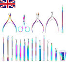 BORN PRETTY Dual-ended Cuticle Pusher Remover Aurora Stainless Steel Nail Tools