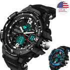 Mens Electronic Sport Watch Luxury Double Display Cold Light Waterproof image