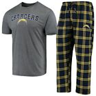NFL Los Angeles Chargers Men's Concepts Sport Troupe Pajama Set-Gray/Blue/Gold $44.95 USD on eBay