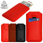 Protective Leather Pouch Beautiful Case with Pull Strap and Card Slot for Phones