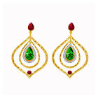QVC Jewels of Istanbul 6.98ctw Green Onyx, Ruby and terling Silver Earrings