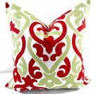 Red Christmas Pillow Cover, Alex Red & Kiwi Sham Cover, Euro Cover, Farmhouse