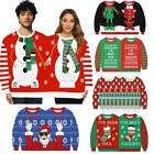Mens Womens Christmas Double Jumper Sweatshirt UGLY Sweater Couple Xmas Pullover