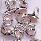 """Natural Rose Quartz Ring 925 Sterling Silver Plated Handmade Rings size 5 to 12"""""""