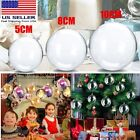 Clear Plastic Ball Baubles Sphere Fillable Christmas Ornament Craft Gift Box USA