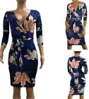 Women's Sexy V Neck 3/4 Sleeve Print Florl Clubwear Casual Party Bodycon Dress M