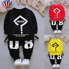 Toddler Baby Kid Boy&Girl Outfits Letter Printing T-shirt Tops+Pants Clothes Set