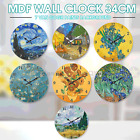 Mdf Round Wall Clock 34cm Van Gogh Hanging Art Battery Home Decor Gift Boxed Au