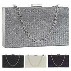 New Sparkly Shimmer Glitter Chain Ladies Hard Compact Bridal Clutch Bag Purse