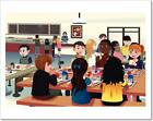 Kids Eating At The School Cafeteria Art Print Home Decor Wall Art Poster - H