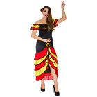 Spanish Senorita Womens Fancy Dress Costume Flamenco Dancer Mexican Rumba Salsa