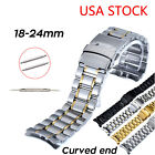 USA Curved Ends Solid Stainless Steel Watch Strap Double Secure Clasp Link Band image