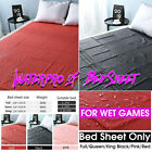 Black PVC Waterproof Bed Sheet High Gloss Breathable Bedding Adult Couple Pad image
