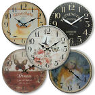 New 29cm Round Wall Clock Rustic French Provincial Country Assorted Designs