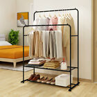 Clothes Rack Garment Rack Metal With Rod Storage Shelf Heavy Duty Black Brown